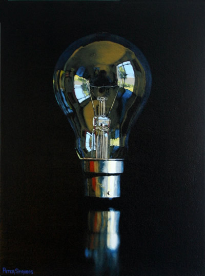 Oil on canvas painting of a clear glass incandescent light bulb by artist Peter Strobos.