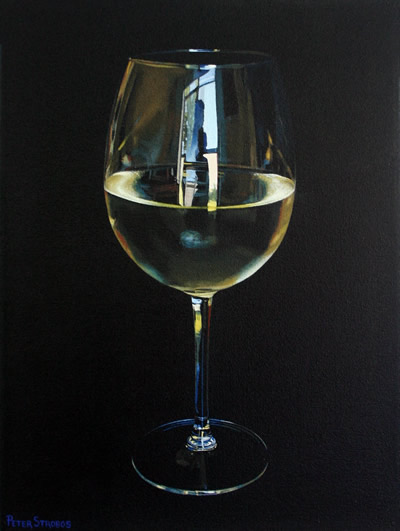 Oil on canvas painting of a glass of Sauvignon Blanc white wine by artist Peter Strobos.
