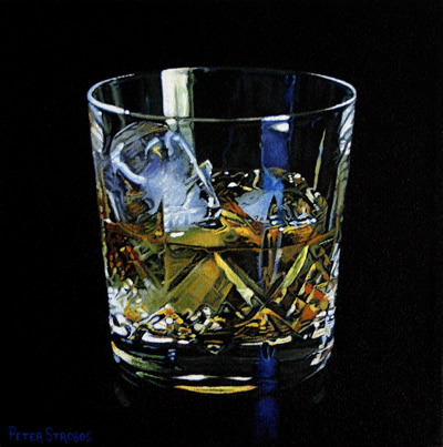Oil on canvas painting of Scotch Whisky on ice by artist Peter Strobos.