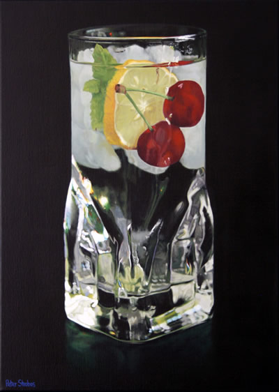 Oil on linen painting of a glass of still water with cherries, lemon and a sprig of mint by artist Peter Strobos.