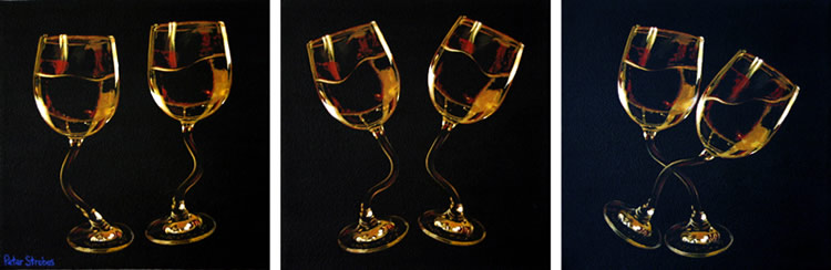 Oil on canvas triptych of two wine glasses dancing by artist Peter Strobos.