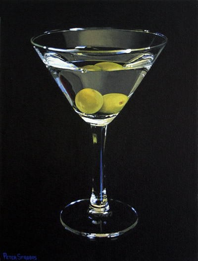 Oil on canvas painting of a Vodka Martini with green olives by artist Peter Strobos.