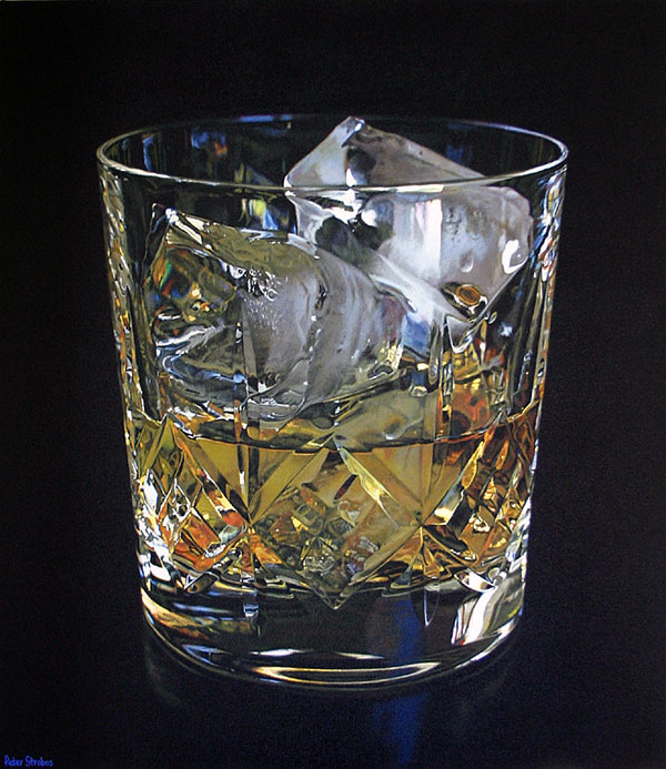 Oil on canvas painting of a faceted crystal Whisky glass by artist Peter Strobos.