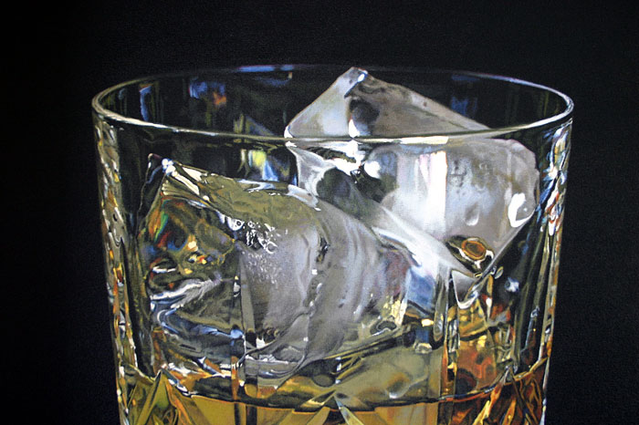 Close-up detail of ice in a crystal Whisky glass oil painting by artist Peter Strobos.