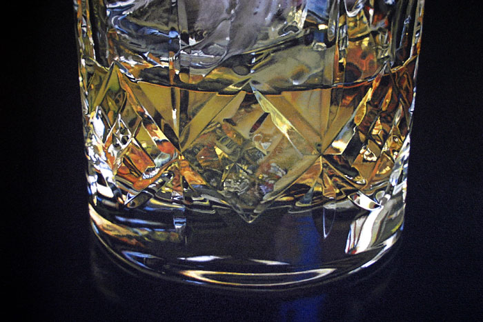 Close-up detail of facets on a crystal Whisky tumbler oil painting by artist Peter Strobos.