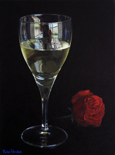 Oil on canvas painting of a red rose alongside a glass of white wine by artist Peter Strobos.
