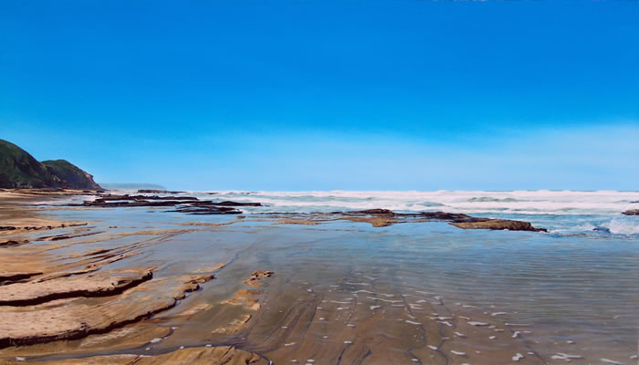 Oil on canvas seascape painting from Wilderness Beach, South Africa by artist Peter Strobos.