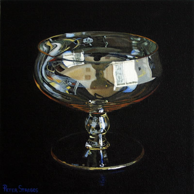 Oil on canvas painting of a gold tinted glass by artist Peter Strobos.
