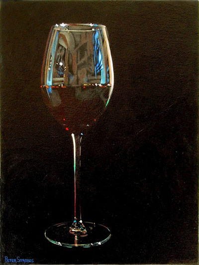 Oil on canvas painting of a glass of Italian red wine by artist Peter Strobos.