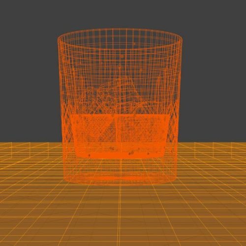 Crystal whisky glass 3D model, wireframe mesh.