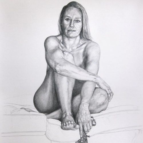 Graphite pencil drawing of a woman posing, by Peter Strobos.