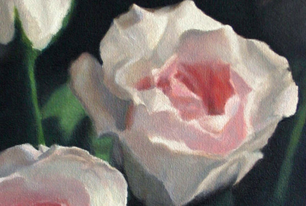 Oil on canvas painting close-up of pale pink roses by artist Peter Strobos.