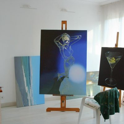 Artist's studio, oil paintings in progress by Peter Strobos.