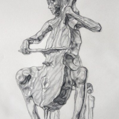 Fluidity concept sketch depicting a cellist seated, playing her cello.