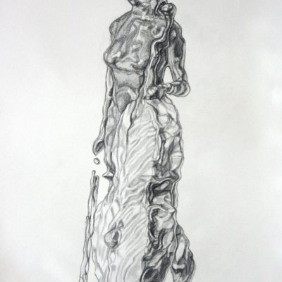 Fluidity concept sketch depicting a cellist standing with her bow and cello.