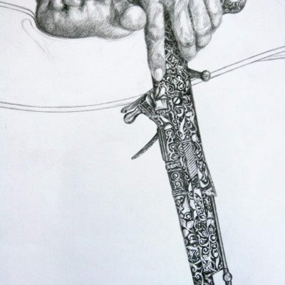 Detail from the graphite pencil study of the engraved flintlock pistol.
