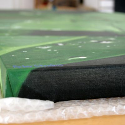 Side view showing the painting's gallery wrap, depth and texture.