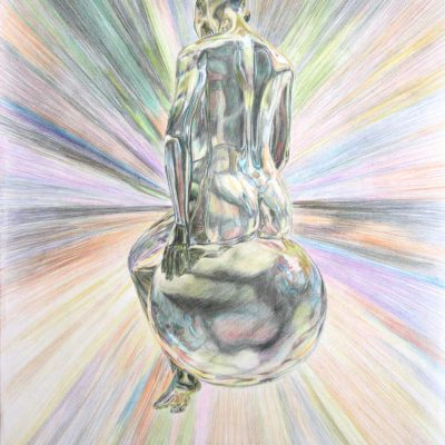 Colour concept drawing of a woman resting on a sphere.