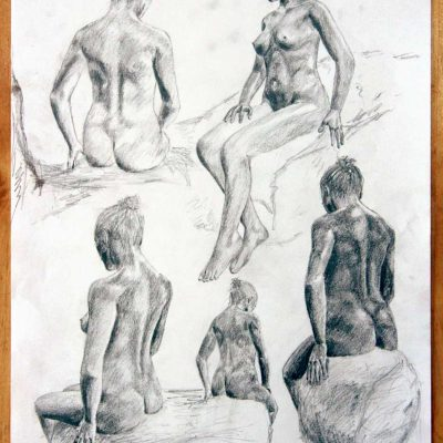 Rough pencil sketches of a seated woman posing.
