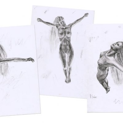 Graphite pencil rough sketches of a woman rising.