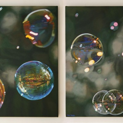 Oil painting diptych by Peter Strobos of soap bubbles.
