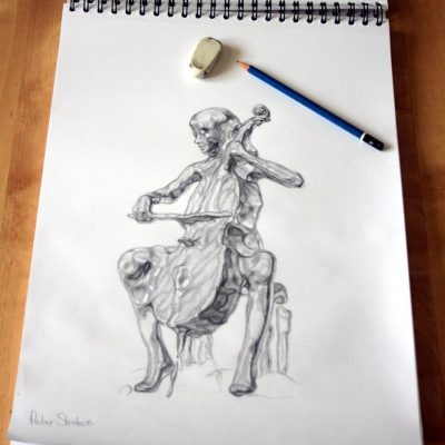 Concept drawing of cellist and cello merged as fluid.