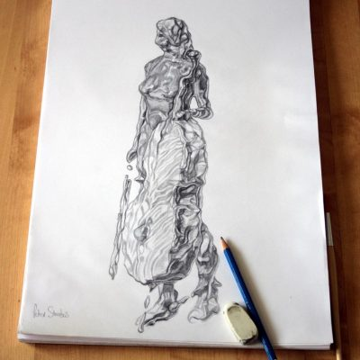 Concept drawing of cellist and cello imagined in fluid form.