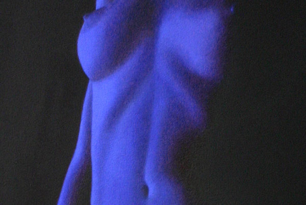 Oil on canvas nude painting close-up of a female figure in deep blue by artist Peter Strobos