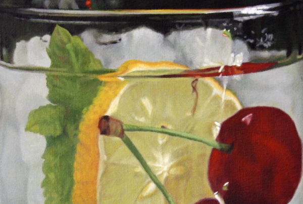 Oil on linen painting close-up of a glass of water with cherries, lemon and mint leaves by artist Peter Strobos.