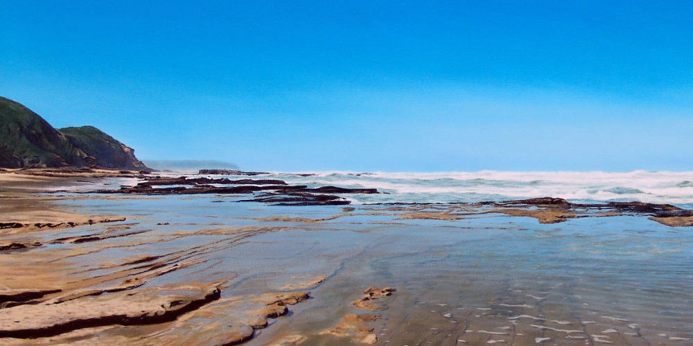 Oil on canvas seascape painting close-up from Wilderness Beach by artists Peter Strobos.