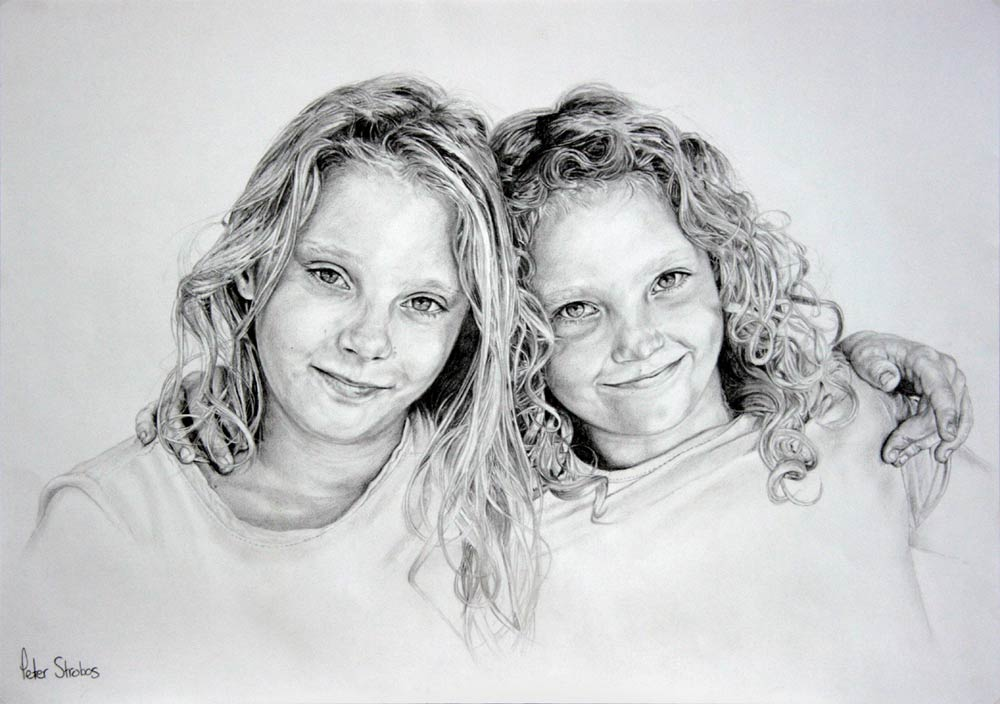 A graphite portrait of sisters hugging by Peter Strobos.