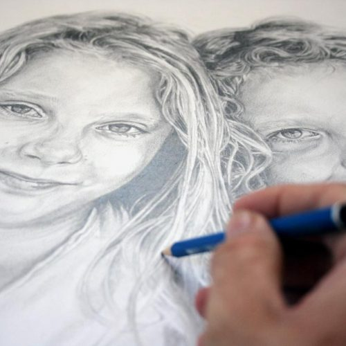 Drawing hair detail for a children's portrait by Peter Strobos.
