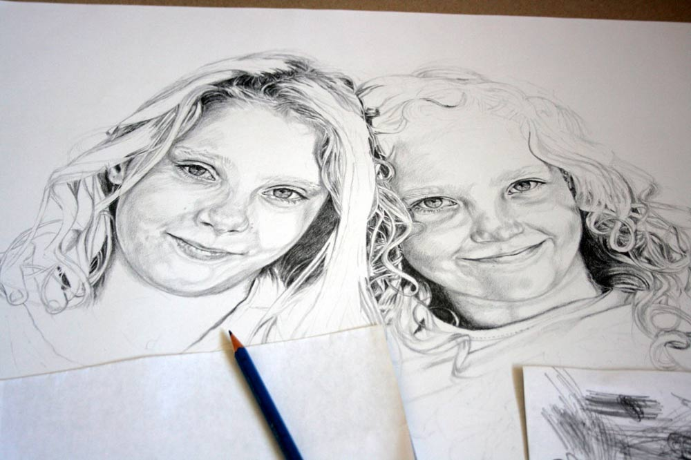 Pencil drawing progress for a children's portrait by Peter Strobos.