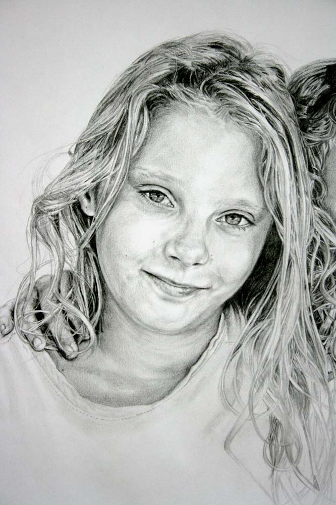 Portrait drawing of a child with straight hair by Peter Strobos.