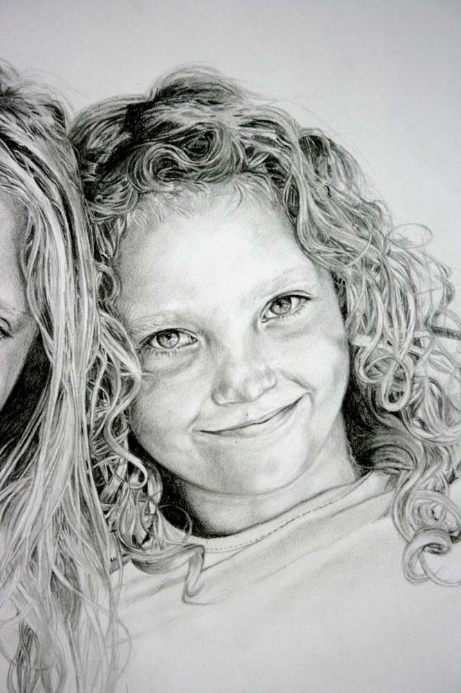Portrait drawing of a child with curly hair by Peter Strobos.