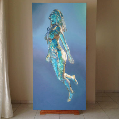 View of oil painting, simply titled 7, on easel in artist's sudio..